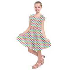 Colorful Floral Seamless Red Blue Green Pink Kids  Short Sleeve Dress
