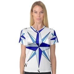 Compass Blue Star Women s V-Neck Sport Mesh Tee
