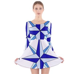 Compass Blue Star Long Sleeve Velvet Skater Dress