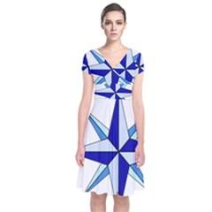 Compass Blue Star Short Sleeve Front Wrap Dress
