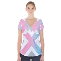Flag X Blue Pink Grey White Chevron Short Sleeve Front Detail Top