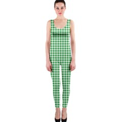 Green Tablecloth Plaid Line OnePiece Catsuit