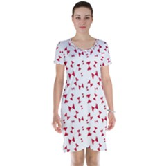 Hour Glass Pattern Red White Triangle Short Sleeve Nightdress