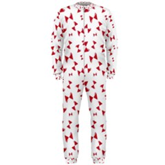 Hour Glass Pattern Red White Triangle OnePiece Jumpsuit (Men)