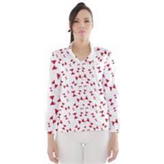Hour Glass Pattern Red White Triangle Wind Breaker (women)