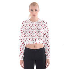 Hour Glass Pattern Red White Triangle Women s Cropped Sweatshirt
