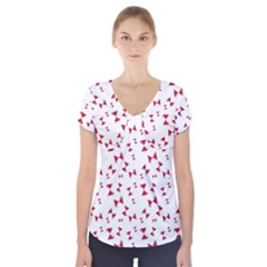 Hour Glass Pattern Red White Triangle Short Sleeve Front Detail Top