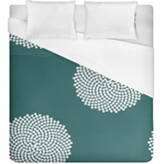 Green Circle Floral Flower Blue White Duvet Cover (king Size)
