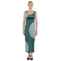 Green Circle Floral Flower Blue White Fitted Maxi Dress