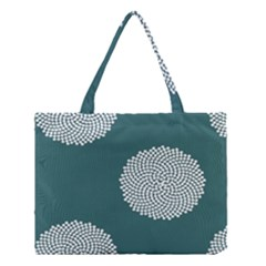 Green Circle Floral Flower Blue White Medium Tote Bag