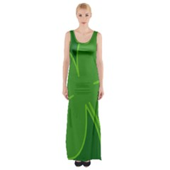 Leaf Clover Green Maxi Thigh Split Dress