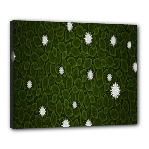 Graphics Green Leaves Star White Floral Sunflower Canvas 20  X 16