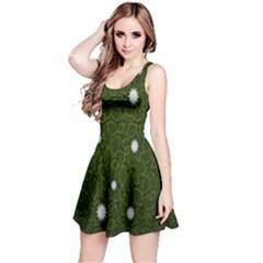 Graphics Green Leaves Star White Floral Sunflower Reversible Sleeveless Dress
