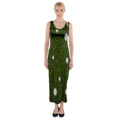 Graphics Green Leaves Star White Floral Sunflower Fitted Maxi Dress