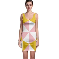 Learning Connection Circle Triangle Pink White Orange Sleeveless Bodycon Dress
