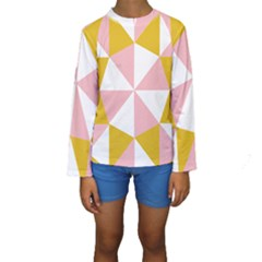 Learning Connection Circle Triangle Pink White Orange Kids  Long Sleeve Swimwear