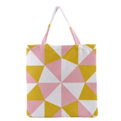 Learning Connection Circle Triangle Pink White Orange Grocery Tote Bag