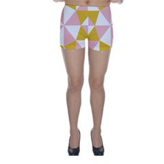 Learning Connection Circle Triangle Pink White Orange Skinny Shorts