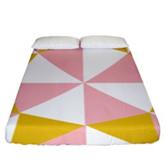 Learning Connection Circle Triangle Pink White Orange Fitted Sheet (king Size)