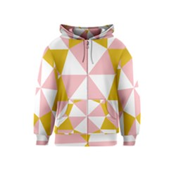Learning Connection Circle Triangle Pink White Orange Kids  Zipper Hoodie