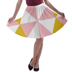 Learning Connection Circle Triangle Pink White Orange A-line Skater Skirt