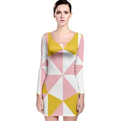 Learning Connection Circle Triangle Pink White Orange Long Sleeve Velvet Bodycon Dress