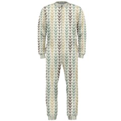 Leaf Triangle Grey Blue Gold Line Frame OnePiece Jumpsuit (Men)