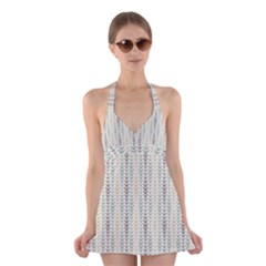 Leaf Triangle Grey Blue Gold Line Frame Halter Swimsuit Dress