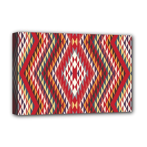 Indian Pattern Sweet Triangle Red Orange Purple Rainbow Deluxe Canvas 18  x 12