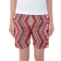 Indian Pattern Sweet Triangle Red Orange Purple Rainbow Women s Basketball Shorts