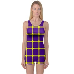 Optical Illusions Circle Line Yellow Blue One Piece Boyleg Swimsuit