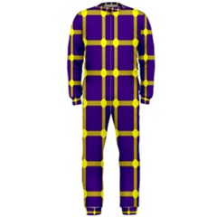Optical Illusions Circle Line Yellow Blue OnePiece Jumpsuit (Men)