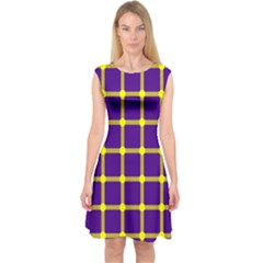 Optical Illusions Circle Line Yellow Blue Capsleeve Midi Dress