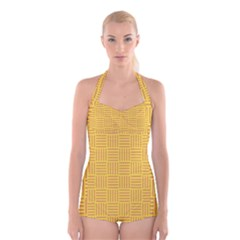 Plaid Line Orange Yellow Boyleg Halter Swimsuit