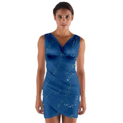 Lapis Blue Stars Wrap Front Bodycon Dress