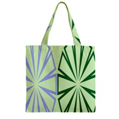 Starburst Shapes Large Green Purple Zipper Grocery Tote Bag