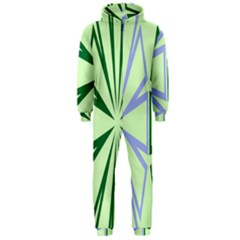 Starburst Shapes Large Green Purple Hooded Jumpsuit (Men)