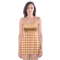 Orange Tablecloth Plaid Line Skater Dress Swimsuit