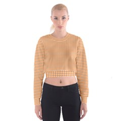 Orange Tablecloth Plaid Line Women s Cropped Sweatshirt