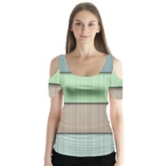 Modern Texture Blue Green Red Grey Chevron Wave Line Butterfly Sleeve Cutout Tee
