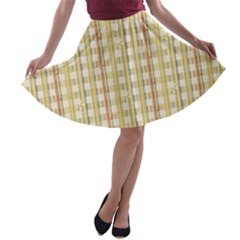 Tomboy Line Yellow Red A Line Skater Skirt