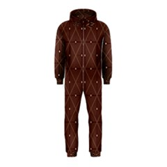Coloured Line Squares Plaid Triangle Brown Line Chevron Hooded Jumpsuit (Kids)