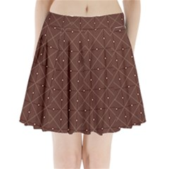 Coloured Line Squares Plaid Triangle Brown Line Chevron Pleated Mini Skirt