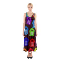 Grunge Telephone Background Pattern Sleeveless Maxi Dress