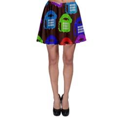 Grunge Telephone Background Pattern Skater Skirt