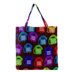 Grunge Telephone Background Pattern Grocery Tote Bag