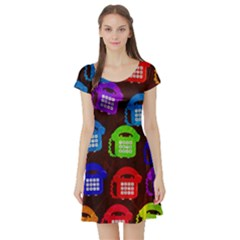 Grunge Telephone Background Pattern Short Sleeve Skater Dress