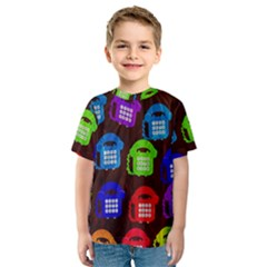 Grunge Telephone Background Pattern Kids  Sport Mesh Tee