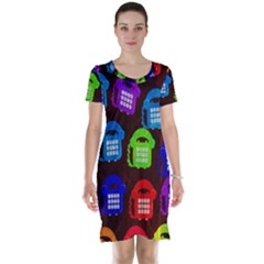 Grunge Telephone Background Pattern Short Sleeve Nightdress