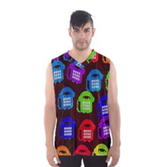 Grunge Telephone Background Pattern Men s Basketball Tank Top
